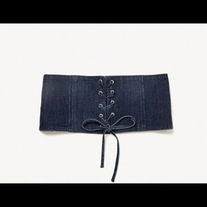 Zara Denim Corset with Laces Size 30 blue NWT
